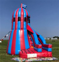 10ft Platform Helter Skelter Slide Bouncy Castle Blue & Red