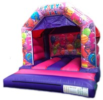 11ft x 12ft Interchangeable Pink & Purple Balloons Bouncy Castle