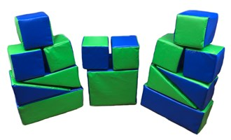 15 Piece Green & Dark Blue Softplay Set