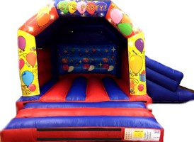 15ft x 17ft Let's Party Disco A-Frame Slide Combo