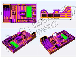 28m x 16m Inflatable Theme Park Bouncy Castle Design 3