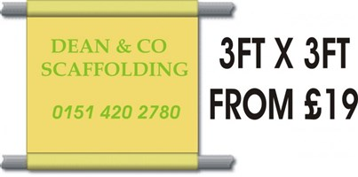 Scaffolding Banners PVC 3'x3' FROM ONLY £19